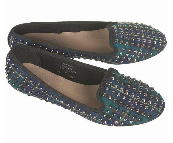 Topshop Tartan Studded Slippers