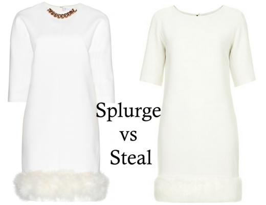 Victoria Beckham Fur Trim White Dress Copy