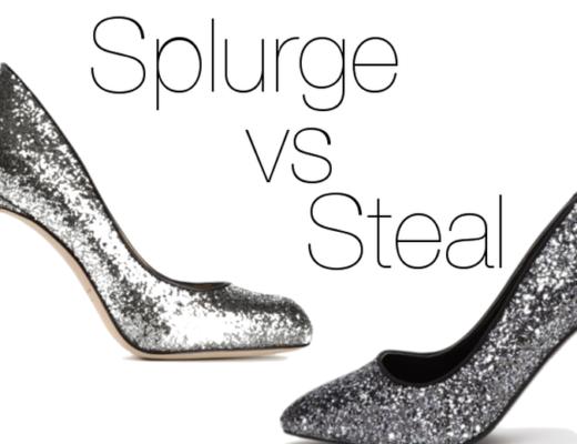 Splurge vs Steal Glitter Heels