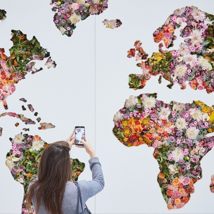 flower map at Heathrow Terminal 5, London.