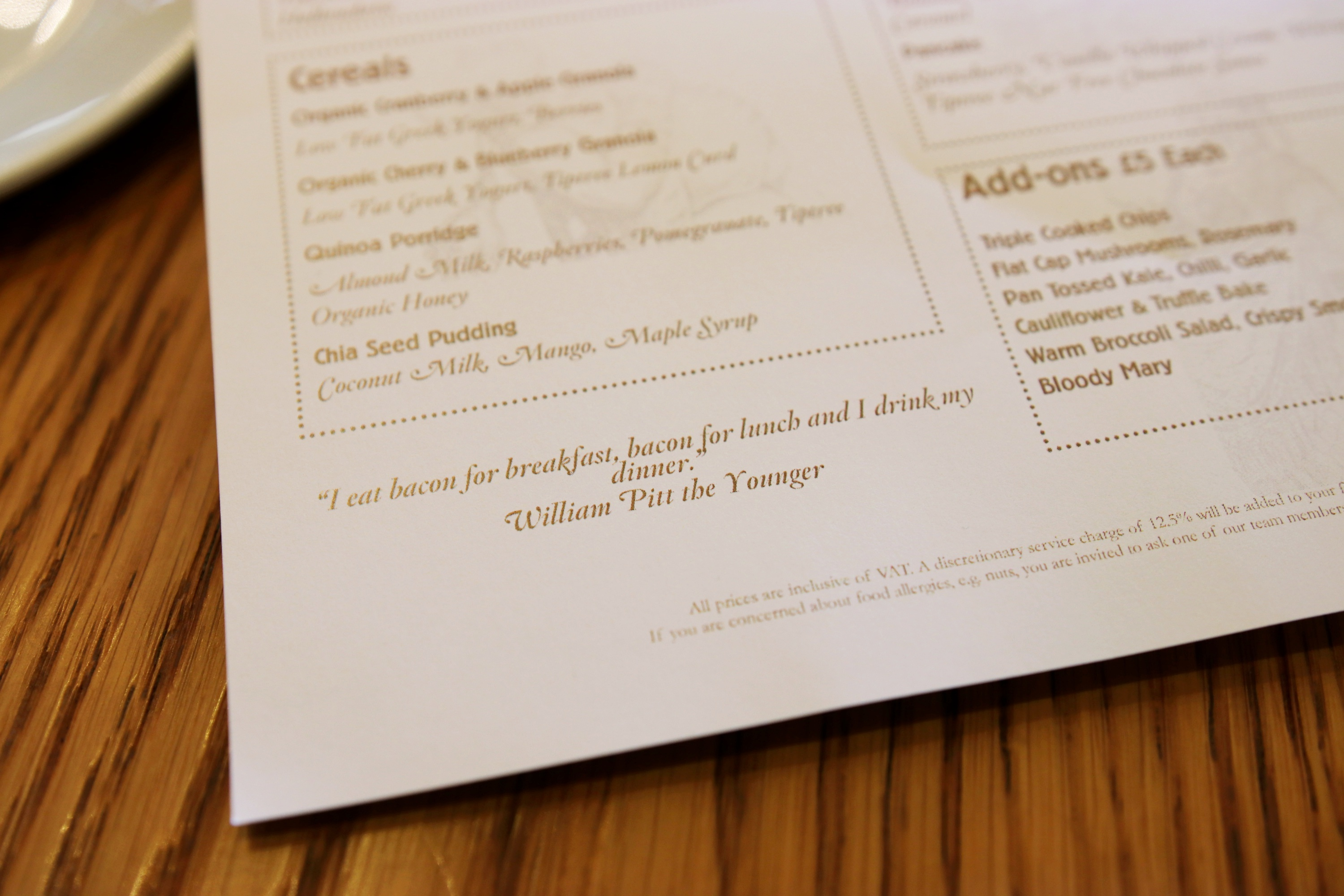 Gillrays Brunch Menu