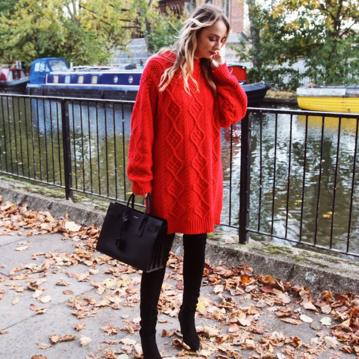 Zara Red Sweater Dress & Duo Bots Empress Boots - London Lifestyle & Fashion Blogger