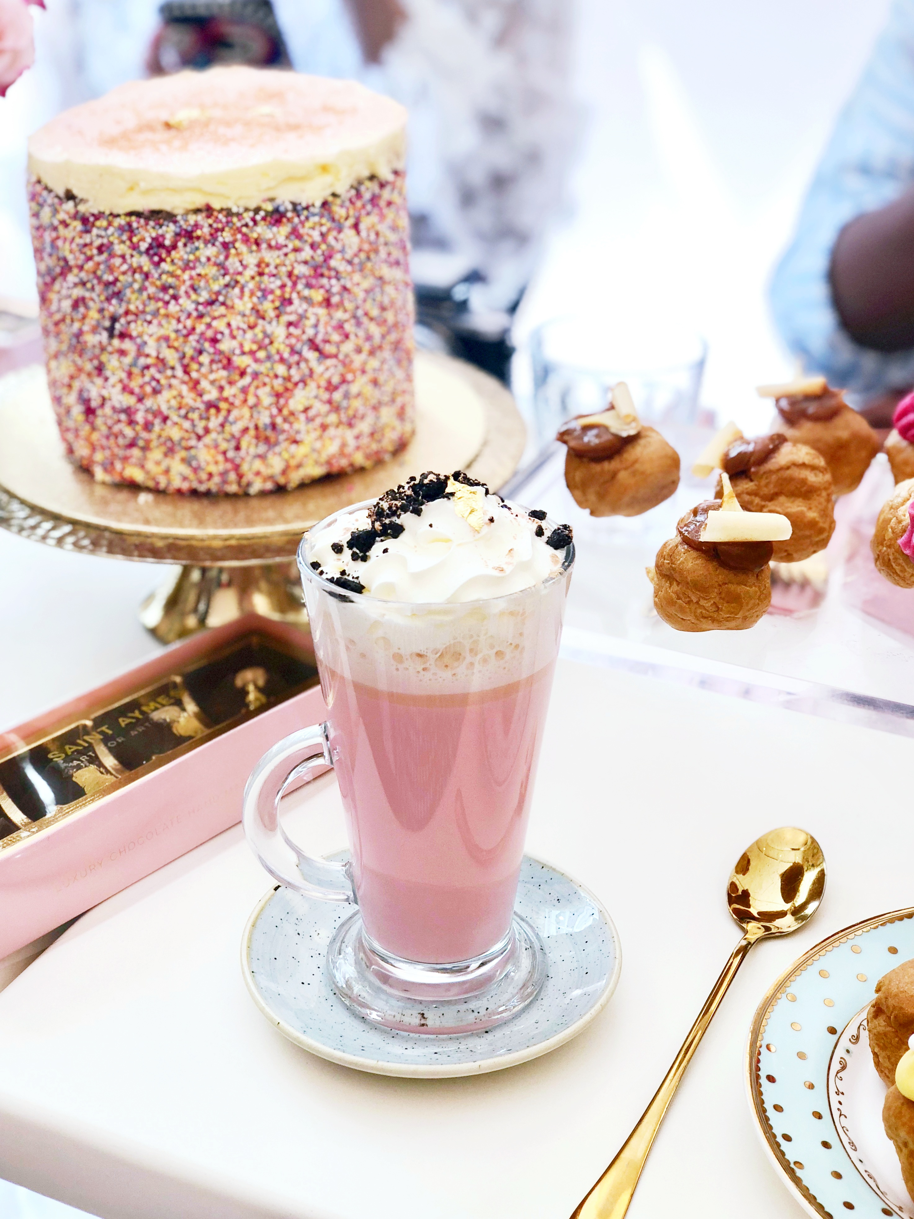 Pink Hot Chocolate Saint Aymes Best Cafes In London The LDN Diaries